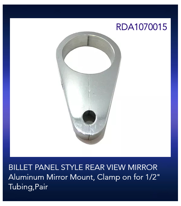 "BILLET PANEL STYLE REAR VIEW MIRROR Aluminum Mirror Mount, Clamp on for 1/2"" Tubing,Pair"