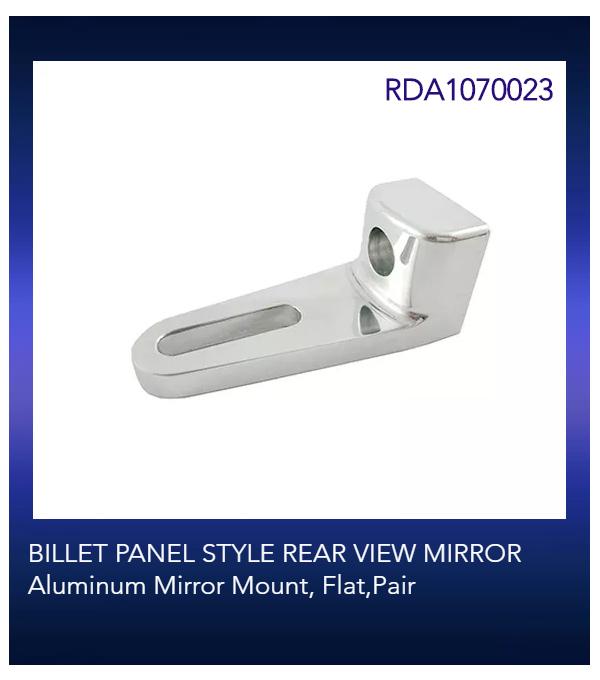 BILLET PANEL STYLE REAR VIEW MIRROR Aluminum Mirror Mount, Flat,Pair