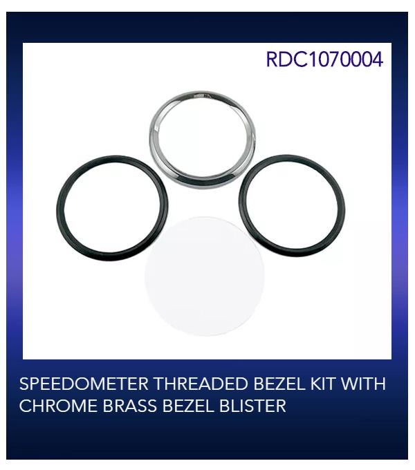 SPEEDOMETER THREADED BEZEL KIT WITH CHROME BRASS BEZEL BLISTER
